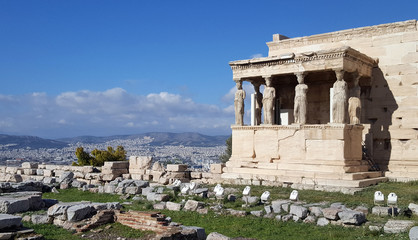 Ruins of the Temple of Erechtheion on Acropolis, Athens, Greece