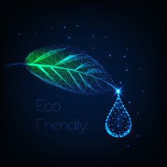 Glowing low polygonal herb leaf with water droplet and text eco friendly on dark blue background.