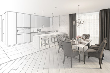 3d illustration. Sketch of modern dining room turns into a real interior
