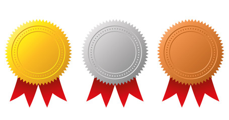 Award medals-gold, silver and bronze. Gold seal. Vector