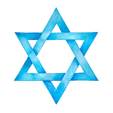 Star of David watercolor illustration. Six pointed geometric figure and light blue artistic gradient. Handdrawn water color graphic painting on white backdrop, cut out element for design and decor.