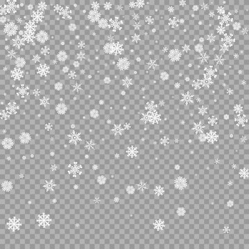 Realistic falling white snow overlay on transparent background. Snowflakes storm layer. Snow pattern for design. Snowfall backdrop texture. Vector illustration