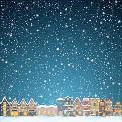 Christmas house in snowfall at the night. Happy holiday greeting card with town skyline. Midtown houses panorama xmas snow poster. Vector winer illustration