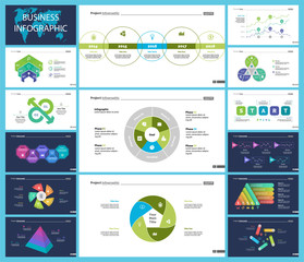 Set of strategy or analysis concept infographic charts. Business diagrams for presentation slide templates. For corporate report, advertising, banner and brochure design.