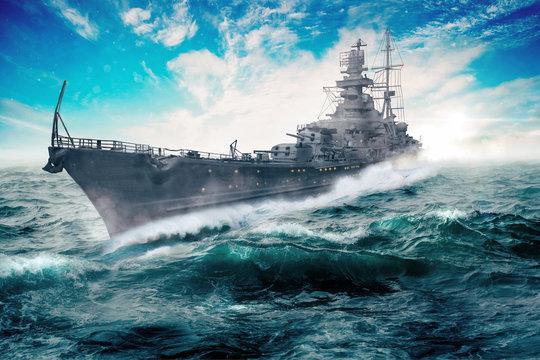 warship goes through the rough atlantic