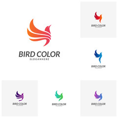 Set of Bird logo vector. Flying Bird Logo design vector template. Dove Pigeon Logotype concept icon.