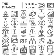 Finance line SIGNED icon set, bank symbols collection, vector sketches, logo illustrations, money signs linear pictograms package isolated on white background, eps 10.