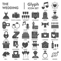 Wedding glyph SIGNED icon set, love symbols collection, vector sketches, logo illustrations, marriage signs solid pictograms package isolated on white background, eps 10.