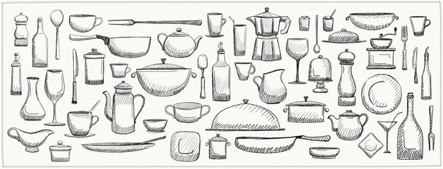 Graphic doodle set of kitchen utensils and tableware