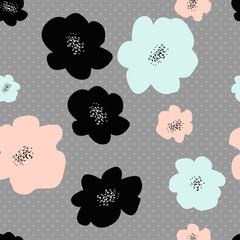 Seamless repeat pattern with abstract colors on grey polka dot background. Hand drawn fabric, gift wrap, wall art design.