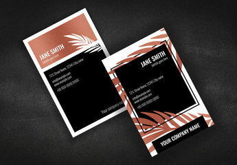 Business Card Layout with Copper Accents