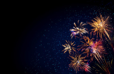 Abstract colored firework background . New Year background.