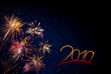 New Year 2019 . Abstract colored firework background .