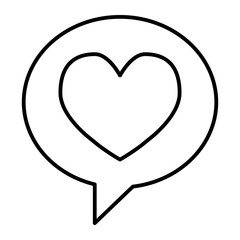 Heart in speech bubble thin line icon. Love message vector illustration isolated on white. Romance chat outline style design, designed for web and app. Eps 10.