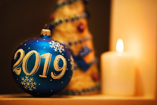 Christmas and New Year 2019 background with dark blue ball.