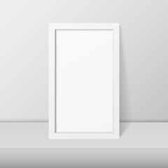 Vector 3d Realistic Modern Interior White Blank Vertical Wooden Poster Picture Frame on Table, Shelf Closeup on White Wall, Mock-up. Empty Poster Frame Design Template for Mockup, Presentation