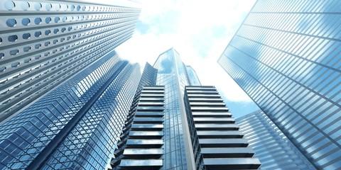 Skyscrapers against the sky, modern buildings from below,