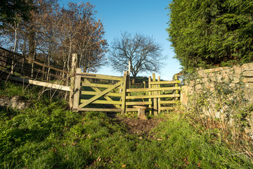 Wooden field path stile and gate
