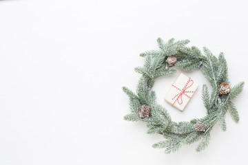 Christmas wreath. Christmas decorations on white background. Flat lay, top view