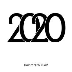 napis zakrzywionym fontem 2020 na tle. Projekt znaku graficznego z napisem szczęśliwego nowego roku. Ilustracja wektorowa