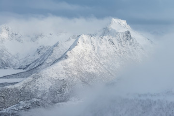 Breidtind mountain peak in winter, Austvagoy, Lofoten Islands, Norway