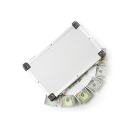 Hard case full of money on white background, top view