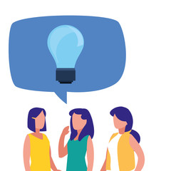 business women bulb idea speech bubble