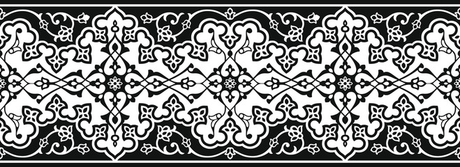 Vector image is black and white in Oriental style. The Eastern border for holiday cards or for decorating of the frame.