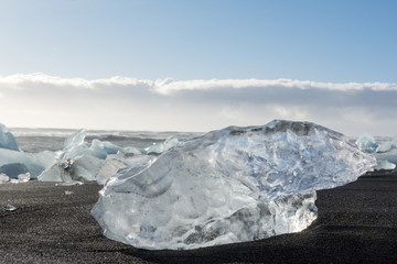 View of the ice floes in the sea, and beach in Jökulsárlón, Iceland