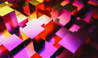Gaming background of colorful neon light cubes in a Realistic style