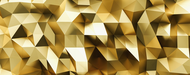 abstract gold crystal low poly background, luxery gold metallic texture,  panorama, wide panoramic polygonal wallpaper Wall mural
