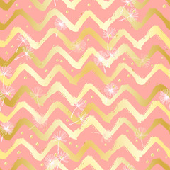Chevron Zigzag Paint Brush Strokes Seamless pattern. Vector Abstract Grunge pink and yellow background