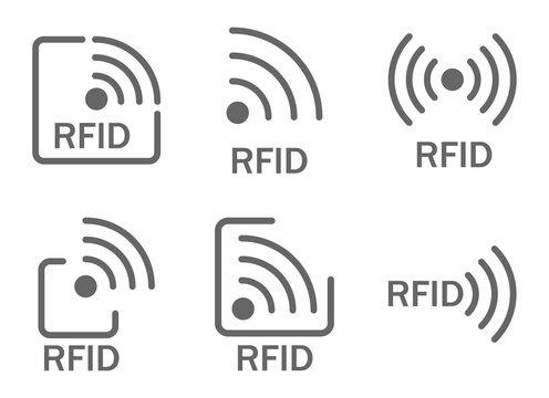 monochrome set of icons rfid. set of icons featuring radio and radio waves