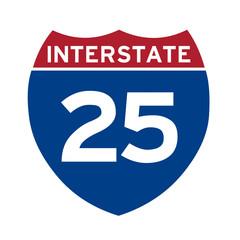 Interstate highway 25 road sign