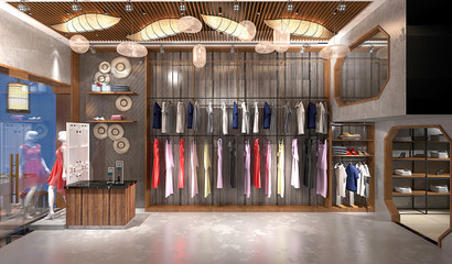 3d render fashion shop Wall mural