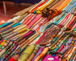 colored scarves on display