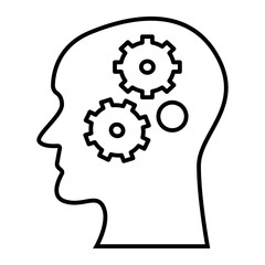 Gear in head thin line icon. Brain with gear vector illustration isolated on white. Head and cogwheel outline style design, designed for web and app. Eps 10.