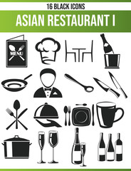 Black Icon Set Restaurant I