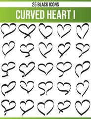 Black Icon Set Curved Hearts I