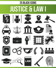 Black Icon Set Justice & Law I