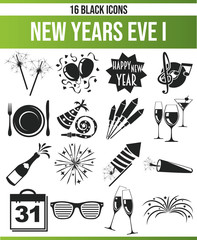 Black Icon Set New Years Eve I