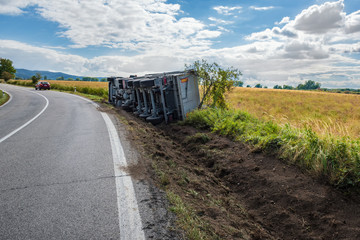 Overturned truck in field next to road – view from back, chassis visible