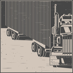Big truck with trailer retro poster