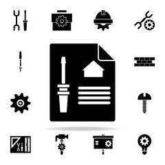 screwdriver on paper icon. Engineering icons universal set for web and mobile