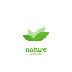 Abstract overlapping green leaf nature logo icon symbol modern style