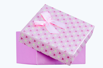 Gift Box pink color on White background,Clipping path.
