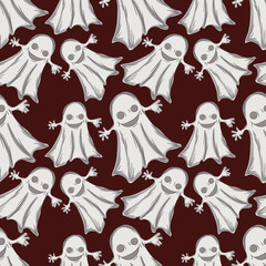 Halloween holiday seamless pattern background with hand drawing elements. eps 10 vector