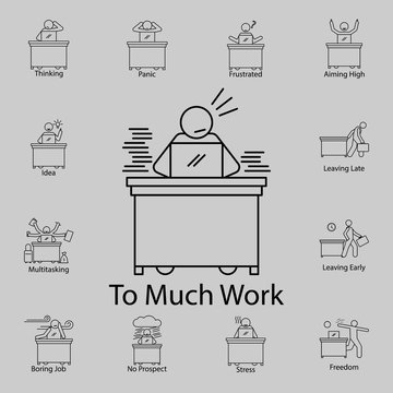 too much work icon. Detailed set of People in the work icons. Premium graphic design. One of the collection icons for websites, web design, mobile app