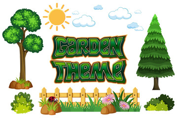 Set of garden theme