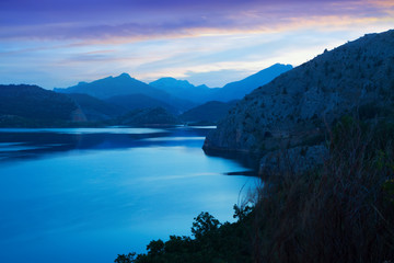 reservoir in summer twilight
